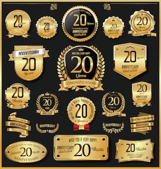 Emblemas e etiquetas de ouro retrô vintage de aniversário vector