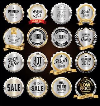 Emblemas e etiquetas de prata de qualidade premium