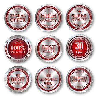 Emblemas e etiquetas de qualidade premium prata e vermelha de luxo