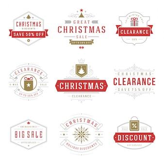 Emblemas e etiquetas de venda de natal