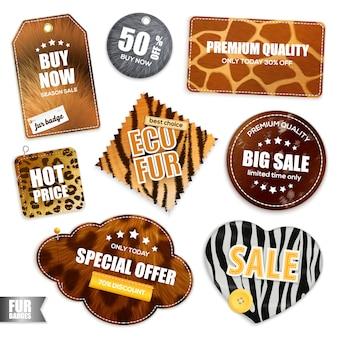 Emblemas e etiquetas de venda de peles