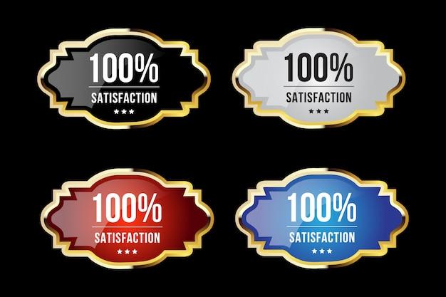 Emblemas e etiquetas douradas de luxo para 100% de qualidade e satisfação premium