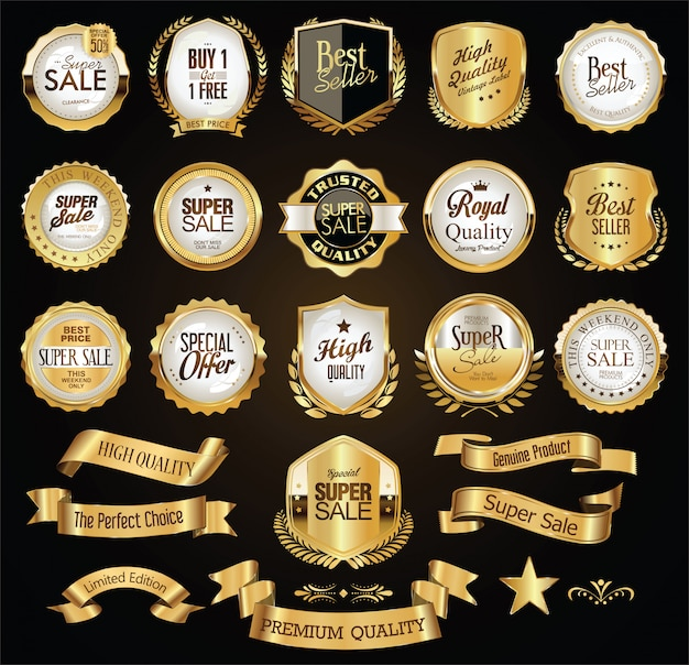 Emblemas e etiquetas douradas premium de luxo