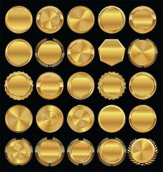Emblemas e etiquetas douradas