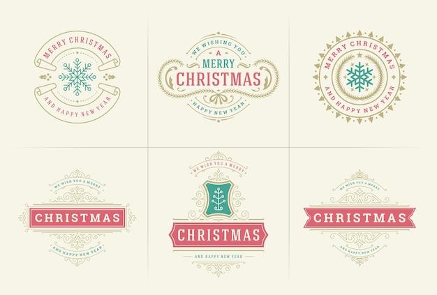Emblemas e etiquetas ornamentadas de vetor de natal definem tipografia de desejos de feliz ano novo e feriados de inverno
