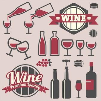 Emblemas e ícones projeto do vinho