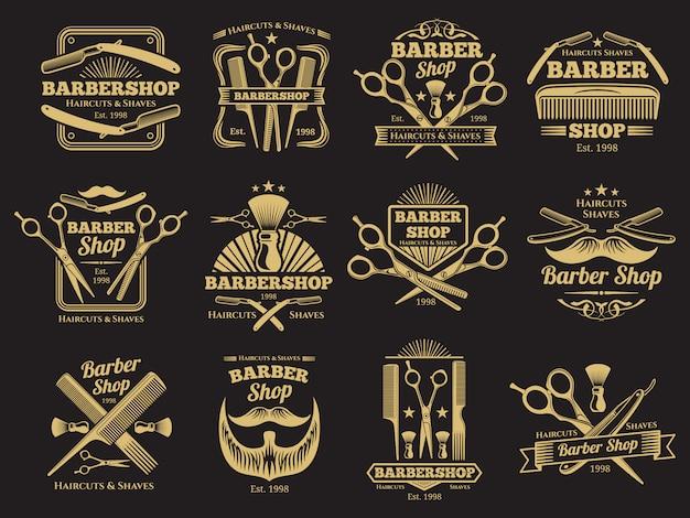 Emblemas e rótulos de barbearia antigos