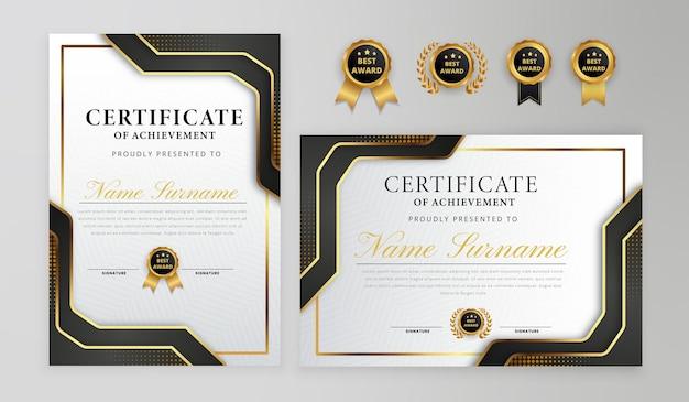 Emblemas elegantes gradientes de certificado em preto e dourado para negócios e modelo de diploma