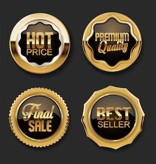 Emblemas em ouro e marrom e emblemas de qualidade premium