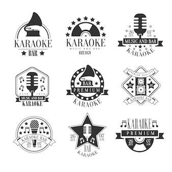 Emblemas em preto e branco do karaoke club