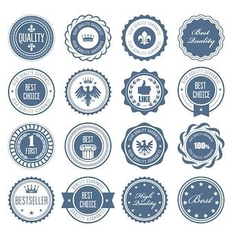 Emblemas, emblemas e selos - designs de prêmios e selos