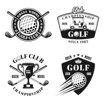 Emblemas, emblemas, etiquetas ou logotipos monocromáticos de vetor de golfe e golfe em estilo vintage, isolados no fundo branco