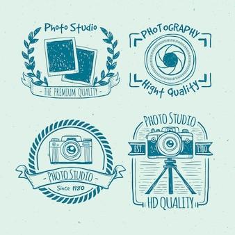 Emblemas esboçado câmera do vintage