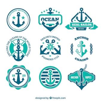 Emblemas escora no estilo retro