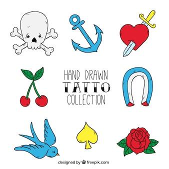 Emblemas estúdio de tatuagem, desenhado mão