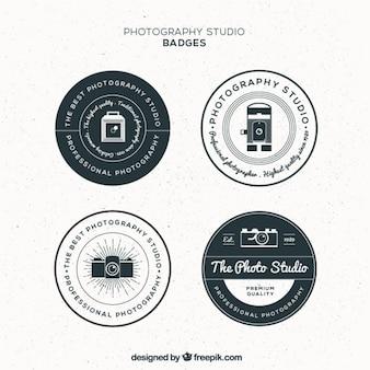Emblemas estúdio fotografia circular vintage