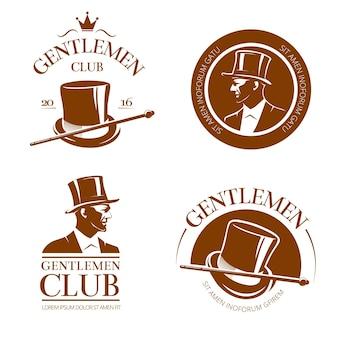 Emblemas, etiquetas e emblemas retrô do clube de cavalheiros