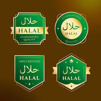 Emblemas / etiquetas halal em design plano