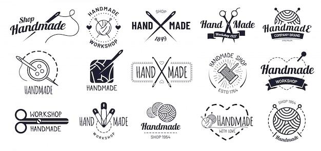 Emblemas feitos à mão. distintivo de artesanato hipster, rótulos de oficina vintage e conjunto de ilustração de logotipo de artesanato