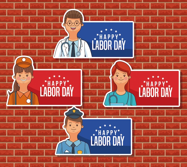 Emblemas felizes do dia do trabalho