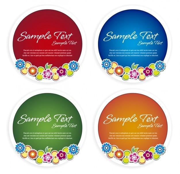 Emblemas florais circulares
