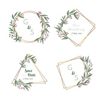 Emblemas florais de casamento com moldura dourada
