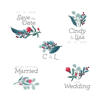 Emblemas florais de casamento