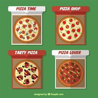 Emblemas geométricas com pizzas