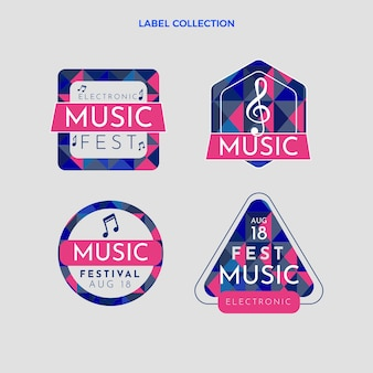 Emblemas gradientes de festivais de música coloridos