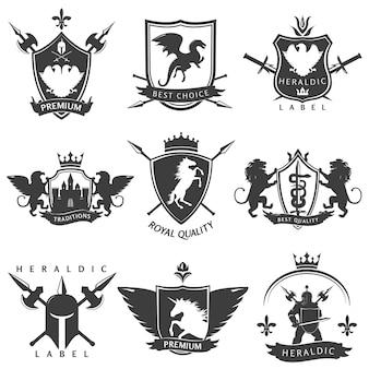 Emblemas heráldicos em preto e branco