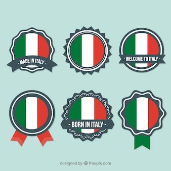 Emblemas italianos pacote vector