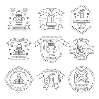 Emblemas lineares de combate a incêndios de departamentos e lojas com ilustração em vetor isoladas estrelas equipamento fitas homem