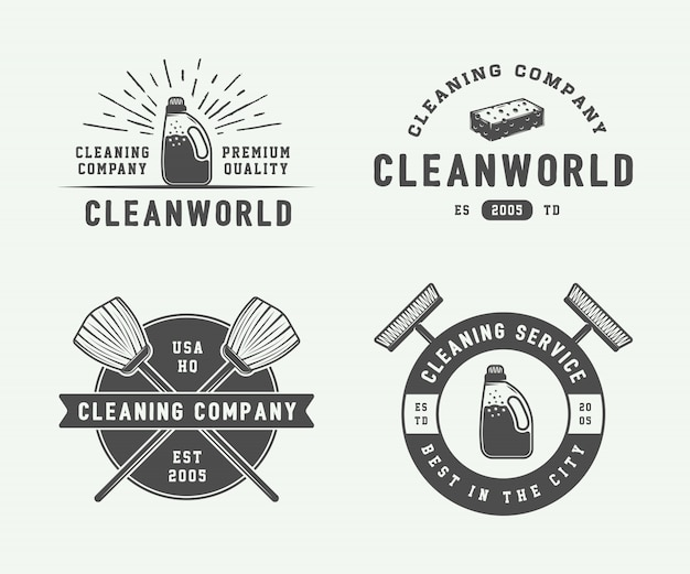 Emblemas logotipo de limpeza, emblemas