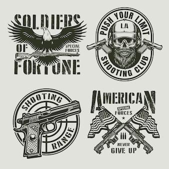 Emblemas militares monocromáticos vintage