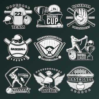 Emblemas monocromáticos de beisebol de equipes e competições com equipamentos esportivos