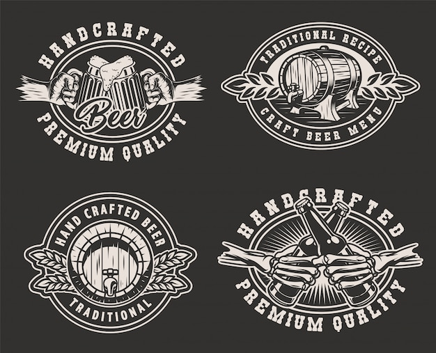 Emblemas monocromáticos de cervejaria vintage