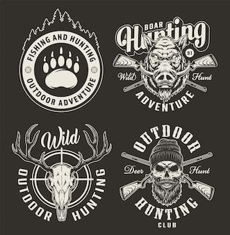 Emblemas monocromáticos de clube de caça vintage