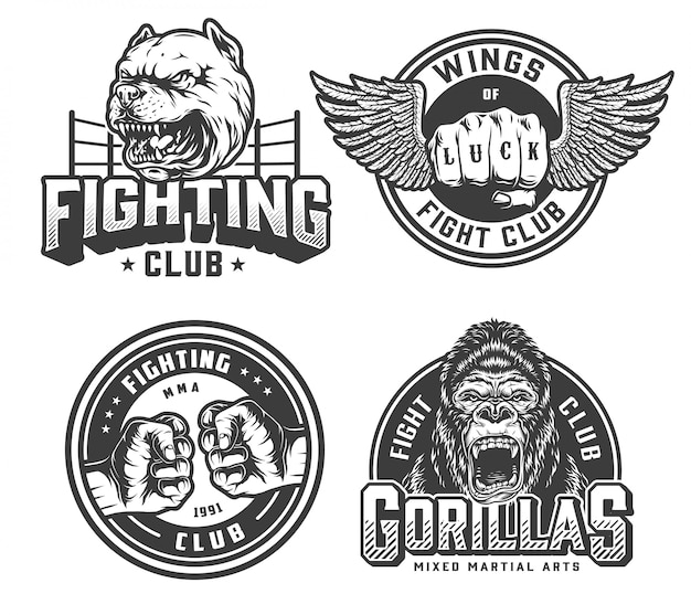 Emblemas monocromáticos de clube de luta vintage