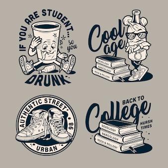 Emblemas monocromáticos de educação vintage