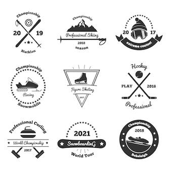 Emblemas monocromáticos de esportes de inverno