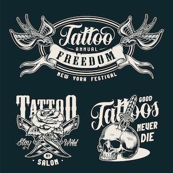 Emblemas monocromáticos de estúdio de tatuagem vintage