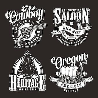 Emblemas monocromáticos de oeste selvagem vintage