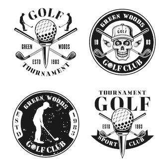 Emblemas monocromáticos, emblemas, etiquetas ou logotipos de quatro vetores de golfe em estilo vintage, isolados no fundo branco