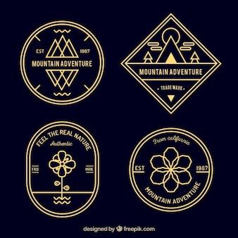 Emblemas montanha aventura retro