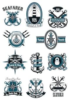 Emblemas náuticos vintage com âncoras marinhas