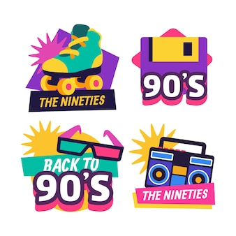 Emblemas nostálgicos dos anos 90 com design plano