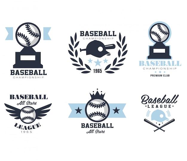 Emblemas ou distintivos de beisebol com vários modelos