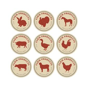 Emblemas ou etiquetas do modelo linear de desenho vetorial - animais de fazenda. símbolo abstrato para carne profissional ou açougue.