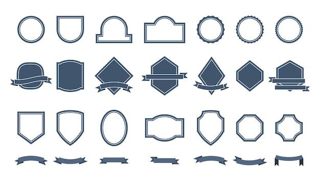 Emblemas ou etiquetas em ilustração de estilo simples