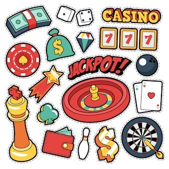Emblemas, patches, adesivos de cassino de jogo - cartas de dinheiro de roleta de jackpot em estilo cômico. doodle
